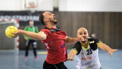 Valon Dedaj (links) und seine Teamkollegen müssen vorerst warten, bis es mit der NLB-Meisterschaft weitergeht. (Michel Canonica)