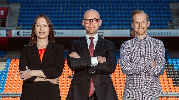 Carol Etter, Edward Turner und Tobias Adler sollen im Juni in den FCB Vereinsvorstand gewählt werden. (zVg/FCB)
