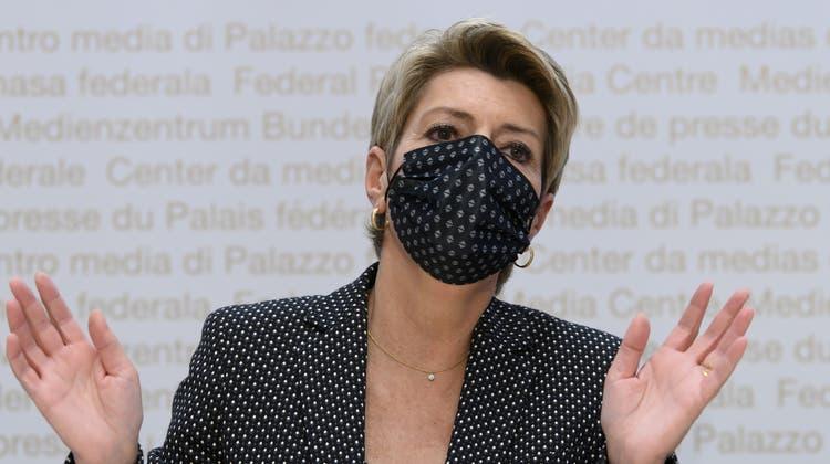 Bundesrätin Karin Keller-Sutter betonte, dass die Massnahmen immer nur als «letztes Mittel» zur Anwendung kämen. (Keystone)