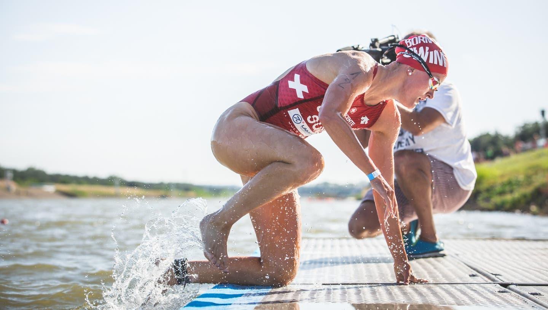 Nora Gmür beim Swiss Athletics Marathon in Bern-Belp. (Loris Kaufmann)