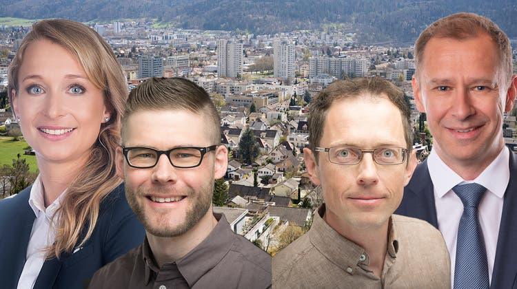 Ungleiche Duos: MichaelaHuser (SVP) und Alain Burger (SP) sowie Adrian Knaup (SP) und Daniel Notter (SVP) haben Vorstösse lanciert. (Bild: Montage BT/zvg/Spichale)