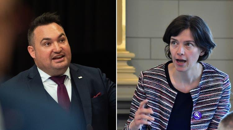 Auf Kollisionskurs: FDP-Präsident Raphael Frei und SP-Fraktionschefin Bettina Surber. (Bilder: Benjamin Manser, Regina Kühne)