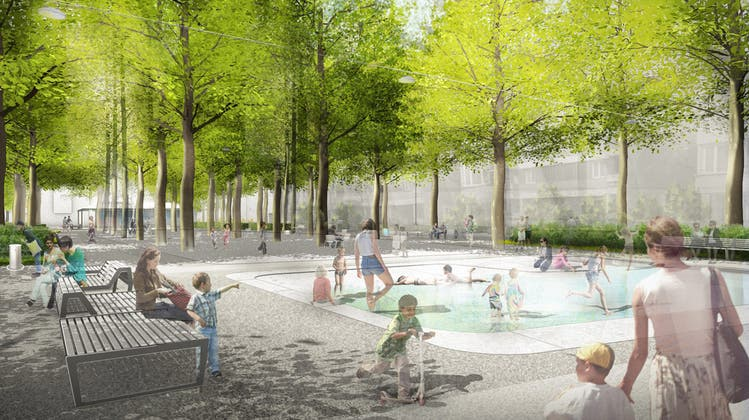 So soll der Winkelriedplatz im Gundeli künftig aussehen. (Visualisierung: zvg)
