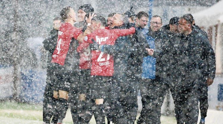 Das 3:0 im Schnee gegen Lausanne war für den FCA der Durchbruch im Barrage-Rennen 2019. (Bild: Freshfocus)