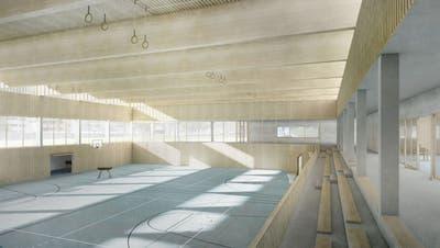 Blick ins Innere der geplanten Dreifachturnhalle beim Kloster. (Visualisierung: PD)