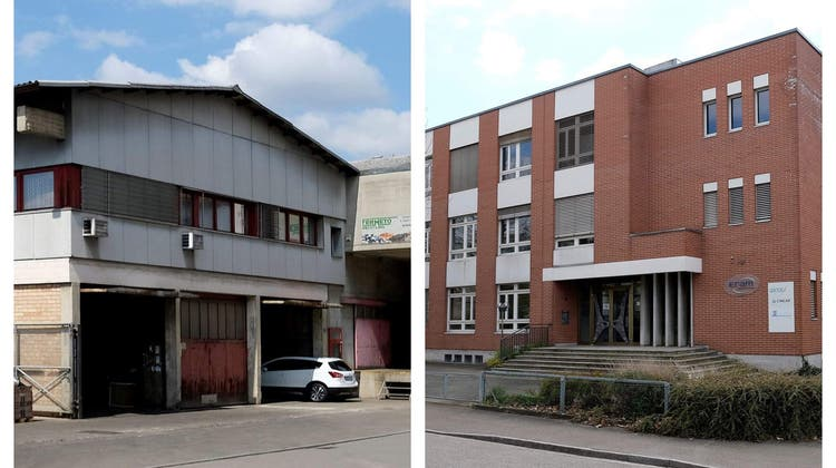 Der Bund hat beide auf dem Radar, doch da enden die Gemeinsamkeiten: die Fermeto Handels AG (links) aus Münchenstein, zu sehen ist die öffentliche Wertstoff-Sammelstelle im Dreispitz, und die AllschwilerEram AG. (Kenneth Nars)