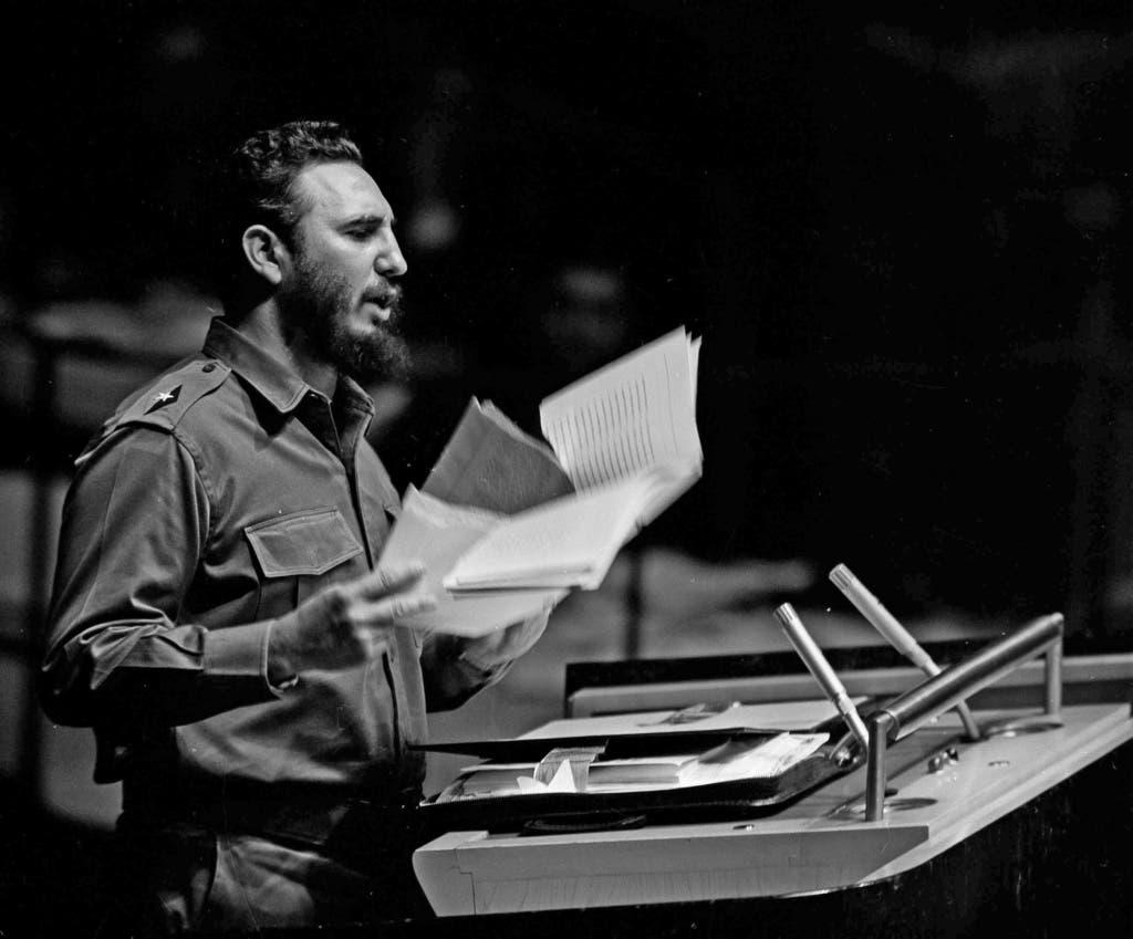 Premierminister Fidel Castro hält eine Ansprache vor der UN-Vollversammlung im September 1960.