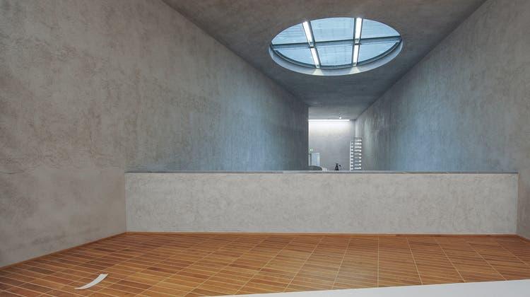 Begehung Neubau Kunstmuseum Basel. Treppenhaus zu den obersten Stockwerken. (Bild: Martin Toengi)