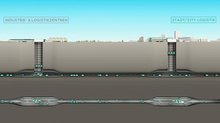Per unterirdischem Gütertransport sollen Städte mit Industrie- und Logistikzentren verbunden werden. (Visualisierung: CST)