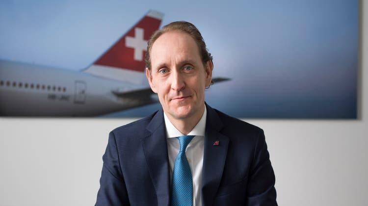 Dieter Vranckx, CEO der Fluggesellschaft SWISS, portaitiert am 1. Februar 2021 am Hauptsitz der Swiss in Kloten. (KEYSTONE/Gaetan Bally) (Gaetan Bally / KEYSTONE)