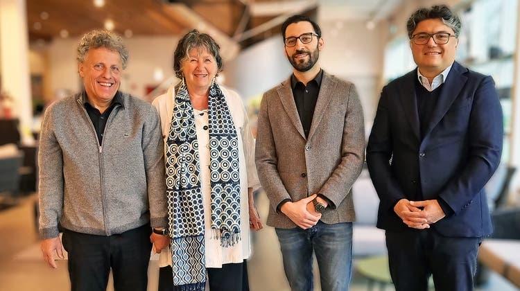 Das Hunn-Gründerehepaar Jürgund Barbara Bänninger, Geschäftsführer Sandro Di Giovanni und der neue Hauptaktionär Jean-Pierre Iacopetta (von links). (zvg)