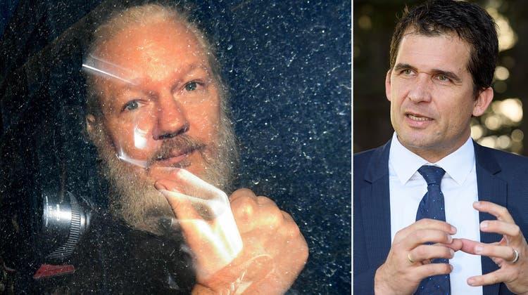 Julian Assange nach seiner Verhaftung in London (11. April 2019). (Victoria Jones / ap)