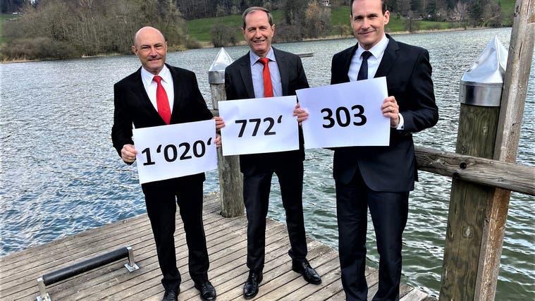 Kurt Stebler, Leiter Firmenkunden, Bankleiter Ruedi Bleichenbacherund Daniel Fischer, Leiter Beratung und Vertrieb, freuen sich, dass die Bilanzsumme der Raiffeisenbank am Bichelsee die Milliardengrenze überschritten hat. (Bild: PD)