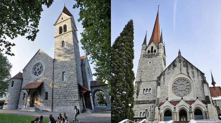 Die Reformierte CityKirche in Zug und die katholische Kirche St. Michael ebenda. Würden die Steuergelder juristischer Personen entfallen, so kämen die beiden Landeskirchen in Bedrängnis. (Bilder: Stefan Kaiser)