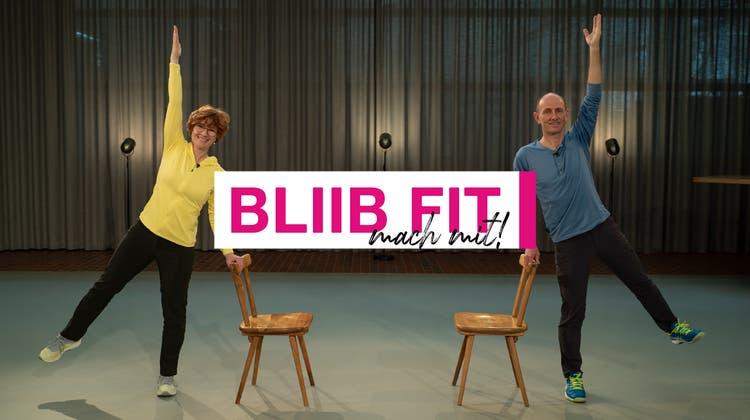 Ursula Meier Köhler und ihr Gast Matthias Weishaupt in der Sendung «Bliib fit - mach mit!» zeigen wie man sich fit hält. (GRIPS.ch)