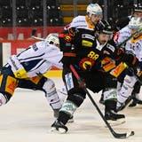 19.04.2021; Bern; Eishockey National League Playoff 1/4 Final - SC Bern - EV Zug; Sven Leuenberger (Zug) gegen Inti Pestoni (Bern) (Urs Lindt/freshfocus) (Urs Lindt / freshfocus)