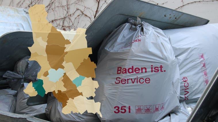 In Baden kostet die Zehnerrolle 35-Liter-Säcke 15 Franken – im Vergleich mit anderen Gemeinden schneidet die Bezirkshauptstadt gut ab. (Rahel Künzler)