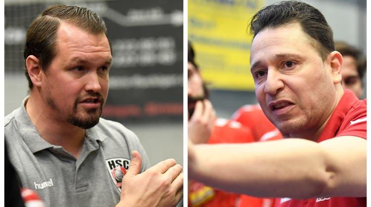 Stimmen ihre Spieler auf den Abschluss der regulären Saison ein: HSC-Coach Misha Kaufmann (links) und TVE-Trainer Zoltan Majeri. (Alexander Wagner/Montage: CH Media)