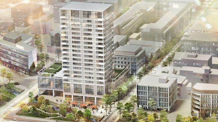 Beispiel einer Schwerpunktzonenplanung: das umstrittene Bauprojekt mit Hochhaus auf dem Chez-Fritz-Areal in Buchs. (Bild: PD)