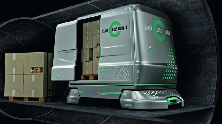 Visualisierung der Fahrzeuge von «Cargo sous terrain». DasSystem soll sichein Netz von 500 Kilometer umfassen. (CST)