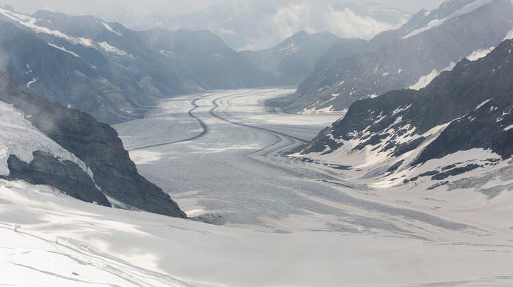 Blick vom Jungfraujoch auf den Konkordiaplatz und den grossen Aletschgletscher. Der Rückgang der Gletscher zeigt den Klimawandel deutlich. (Severin Bigler / MAN)