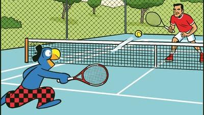 Globi ist ein richtiges Multitalent: Selbst Tennisspielen scheint ihm locker zu gelingen. (Globi-Verlag)