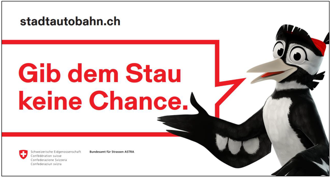 Aufkleber für Autos, Liefer- und Lastwagen: Beispiel für Werbematerial der Kampagne zur Linderung der Stauproblematik während der Sanierung der St.Galler Stadtautobahn.