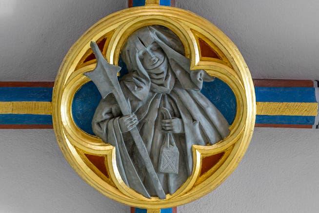 Eine Darstellung der Heiligen Wiborada an einer Decke im Kloster Mariaberg in Rorschach.
