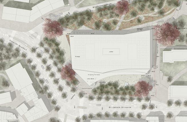 Der HSG-Neubau am Platztor wird ein grosser Brocken. Ihm muss die Offene Kirche an der Ecke Unterer Graben/Böcklinstrasse weichen.