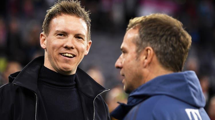 Julian Nagelsmann (links) wird beim FC Bayern München Nachfolger von Hansi Flick (rechts). (Keystone)