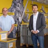 Für diese Ausstellung haben Kantonsarchäologie und Naturama zusammengearbeitet: Denis Vallan, Leiter Museum und Sammlungen, und Georg Matter, Leiter Abteilung Kultur im BKS. (Chris Iseli)