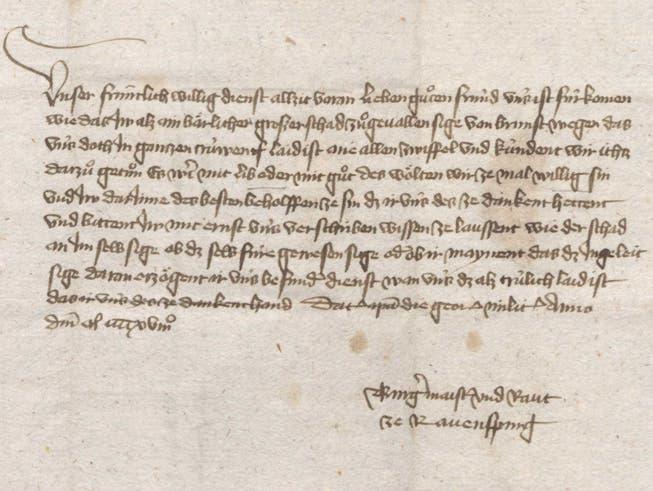 Trouvaille aus dem Archiv: Ein Beileidsschreiben aus Ravensburg nach dem St.Galler Stadtbrand von 1418. Die Ravensburger bieten ein Darlehen von 400 Gulden für den Wiederaufbau an.