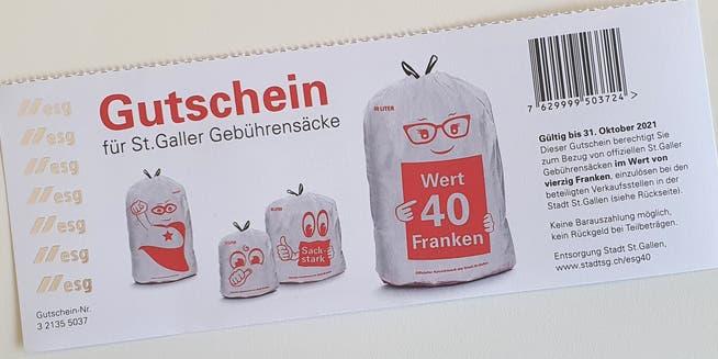 Einer der 40-Franken-Gutscheine für den Gratisbezug von offiziellen Kehrichtsäcken der Stadt St.Gallen.