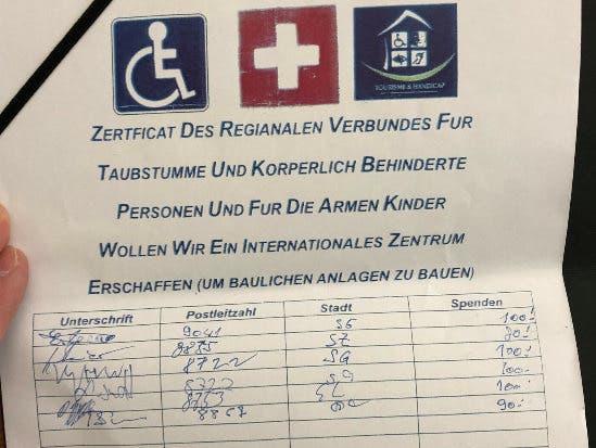 Ein fingiertes Formular, um Spenden für die Organisation «Handicap International» zu sammeln. Seine Machart sollte misstrauisch machen.