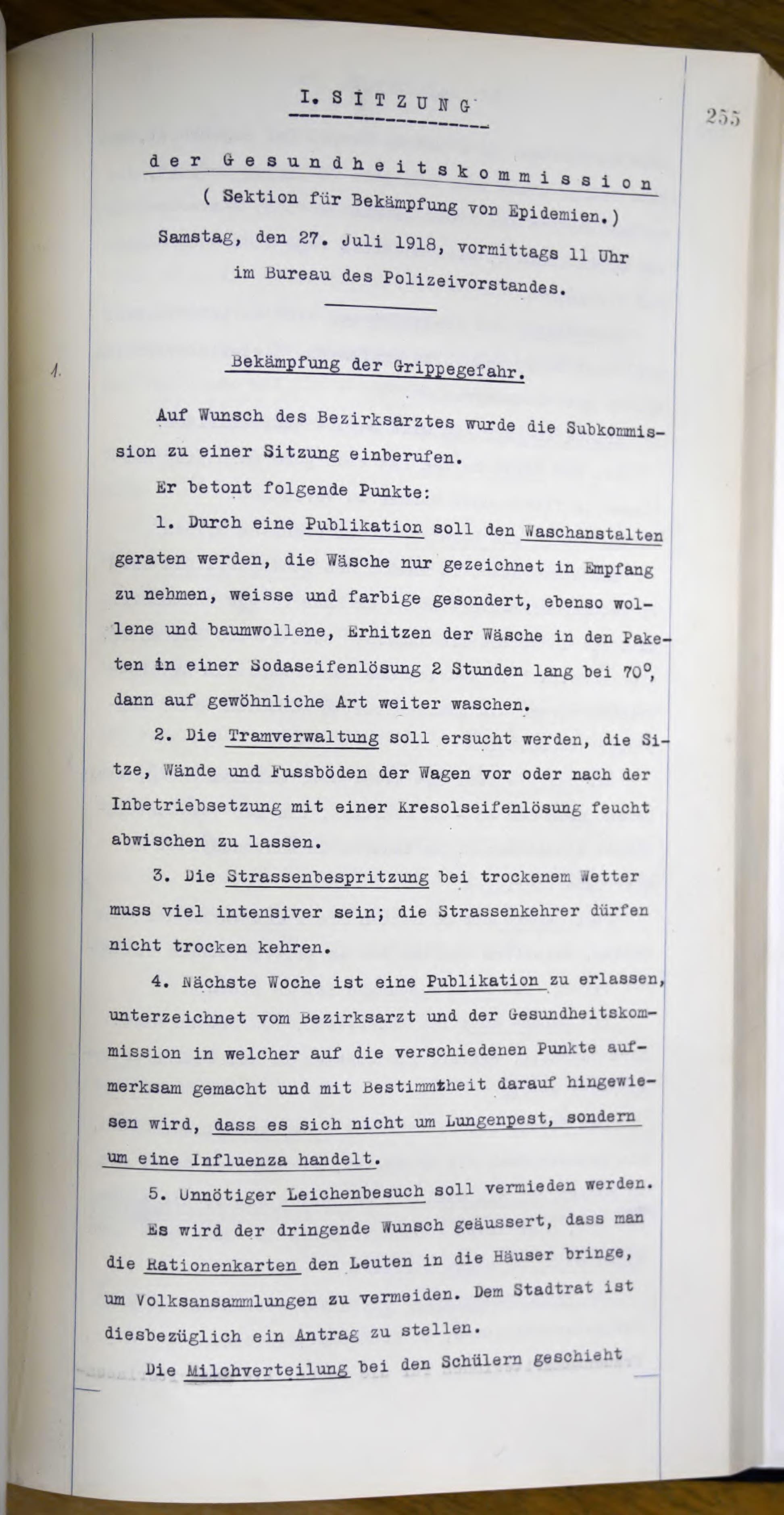 Wie soll die Spanische Grippe in St.Gallen bekämpft werden? 1918 trifft sich der Stadtrat, das Gesundheitsinspektorat, der Bezirksarzt und weitere Personen zu einer ersten «Krisensitzung».
