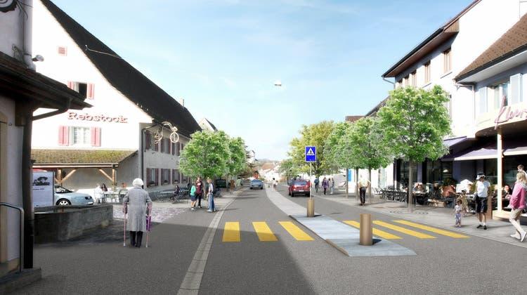 Eine Visualisierung der Neugestaltung derHauptstrase. (Zvg / Aargauer Zeitung)