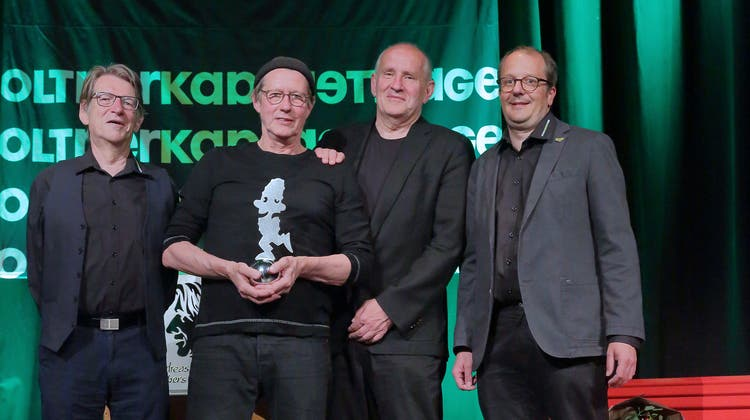 Alex Summermatter, Andreas Rebers, Matthias Deutschmann und Rainer von Arx (v.l.) bei der Preisverleihung. (Dieter Graf)