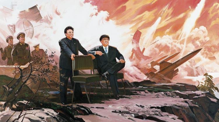 Der Führer ist noch im Kugelhagel die Ruhe selbst: Ölgemälde von Pak Yong Chol – «The Missiles» (Sigg Collection, Mauensee)