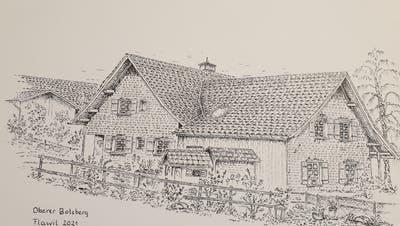 Hans Vijgenboomhat schon zahlreicheidyllische Ecken in Flawil zu Papier gebracht. Hier: der obere Botsberg. (Zeichnung:Hans Vijgenboom)