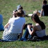 Einige Jugendliche sind auch in der Natur am Smartphone. (Keystone)