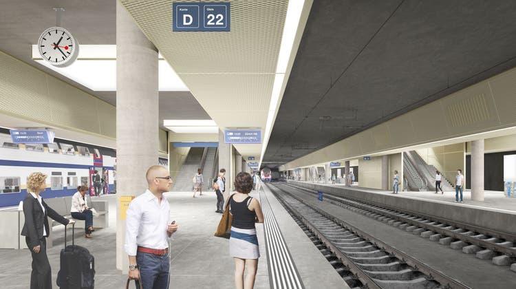 Der geplante Durchgangsbahnhof Luzern. (Visualisierung: PD)