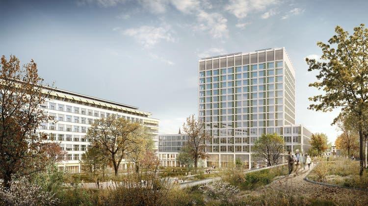 Das Unispital will trotz Corona wie geplant in rund einem Jahr mit dem Bau des Bettenturms des Klinikums 2 starten. (Visualisierung: zvg USB)