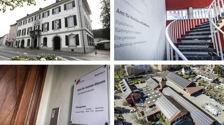 Am meisten unbesetzte Stellen gab es per Ende 2020 bei der Stadtkanzlei, im Amt für Hochbau und Stadtplanung, bei den Sozialen Diensten und bei Thurplus. (Bilder: Donato Caspari, Andrea Stalder, Reto Martin)