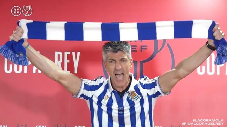 Imanol Alguacils Freude kannte nach dem Final der Copa del Rey keine Grenzen. (Rfef Handout / EPA)