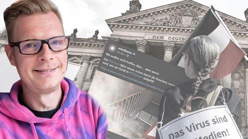 Mit der Reichsflagge vor dem deutschen Bundestag in Berlin. Ein Foto einer Corona-Demo von vergangenem Sommer. (Keystone)