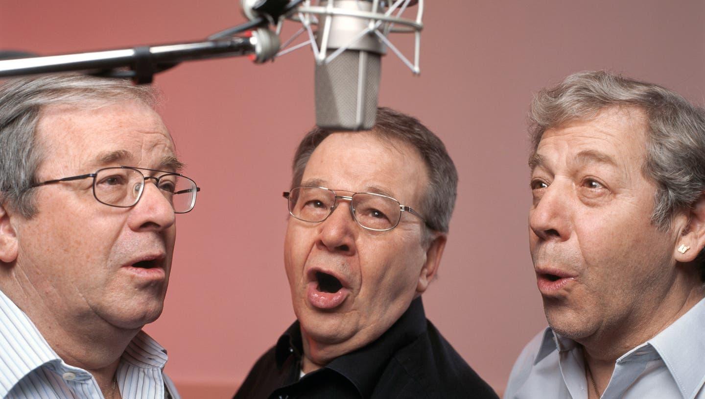 Das Trio Eugster mit Vic (Viktor), Guido und Alex Eugster. 2005 in Dübendorf. (Gaetan Bally / KEYSTONE)