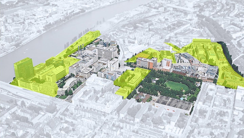 Die ehemaligen Areale der Novartis (gelb) und der BASF (hervorgehoben, nicht eingefärbt) sollen in den nächsten Jahren zum Stadtquartier werden. (Bild: zVg)