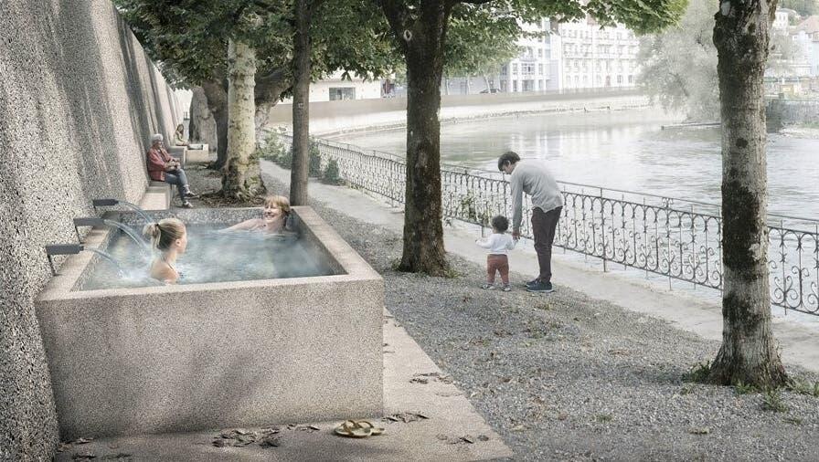 So könnte er aussehen - Der heisse Brunnen am Limmatufer in Ennetbaden. (Visualisierung) (Zvg / Badener Tagblatt)