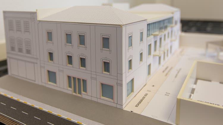 Modell des sanierten Hauses mit Blick von der Haldenstrasse her. (Bild: PD/Glanzmann Dreifuss Viesel)