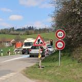 Die Baustelle am Kaistenberg – für Velofahrer gilt während der gesamten Bauzeit ein Fahrverbot. (Dennis Kalt)